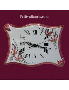 Horloge forme parchemin décor Fleuri rose