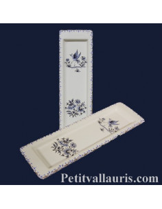Repose-cuillère en faïence décor Tradition Vieux Moustiers bleu