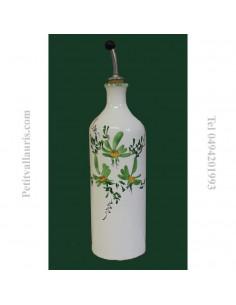 Huilier bouteille en faïence décor Fleuri vert