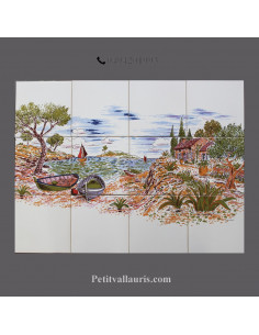 Fresque céramique rectangulaire décor bord de mer