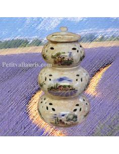 Conservateur Ail, Oignon, Echalotte décor Paysage Provence fond beige