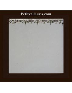 Carreau frise droite polychrome fond uni décor Tradition Vieux Moustiers