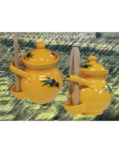 Pot à cornichons couleur provençale décor Olives noires