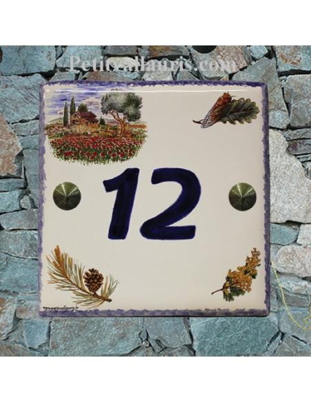 Plaque numéro de Maison en faience émaillée motif cabanon et olivier + chiffre personnalisé bleu