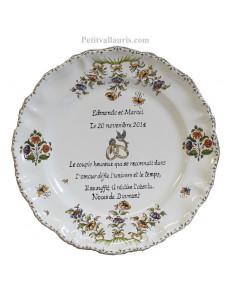 Assiette 60 ans de mariage Louis XV Poème Noces de diamant