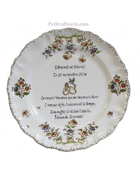 Assiette en ffaience pour anniversaire 60 ans de mariage modèle Louis XV Poème Noces de diamant