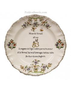 Assiette souvenir 45 ans de mariage Louis XV Poème Noces de vermeil
