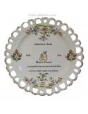 Assiette de Mariage modèle Tournesol inscription avec citation noces de diamant (2)