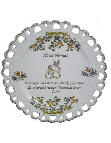 Assiette de Mariage modèle Tournesol inscription avec citation noces de vermeil