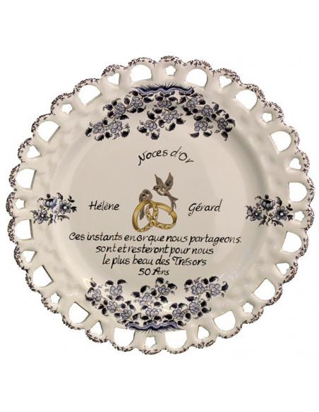 Assiette de Mariage modèle Tournesol décor bleu poème personnalisé noces d'or