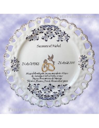 Assiette de Mariage modèle Tournesol bleu poème personnalisé