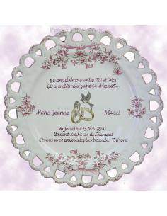 Assiette de Mariage modèle Tournesol rose citation personnalisée noces de diamant texte rose