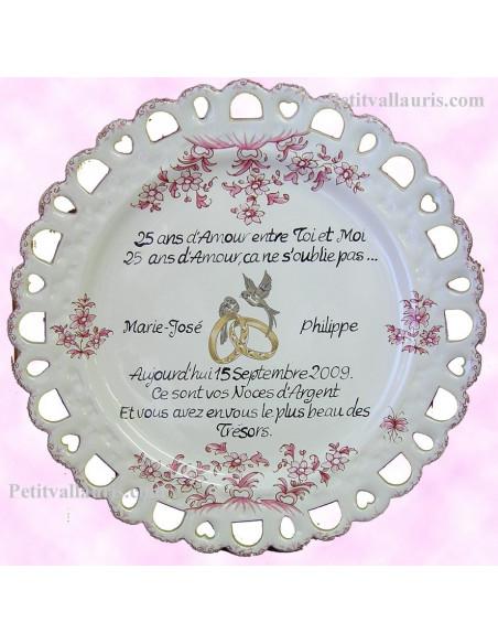 Assiette de Mariage modèle Tournesol fleurs roses gravure personnalisée en noir pour anniversaire noces d'argent