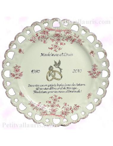 Assiette de Mariage modèle Tournesol rose citation personnalisée noces d'emeraude texte noir