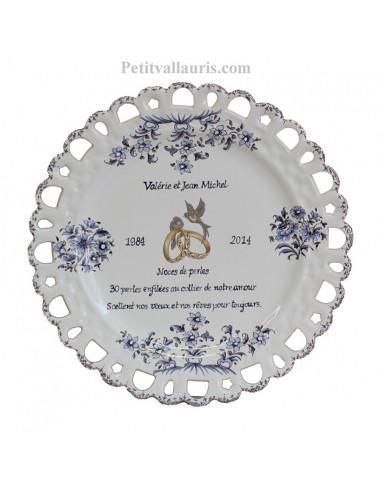 Assiette de Mariage modèle Tournesol bleu poème personnalisé noces de perle