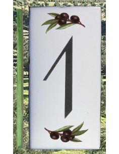 Numero de rue chiffre 1 décor brins d'olives