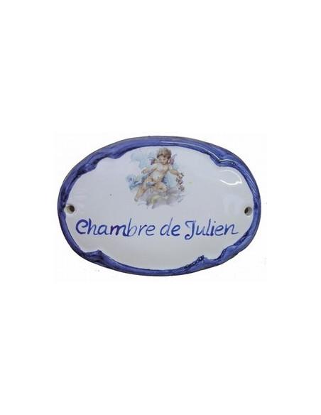 Plaque de porte en faience émaillée blanche modèle ovale motif petit ange garçon + personnalisation