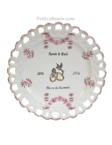 Assiette de Mariage modèle Tournesol rose inscription personnalisée noire