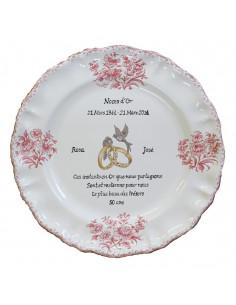 Assiette souvenir 50 ans de mariage Louis XV décor rose Poème Noces d'or
