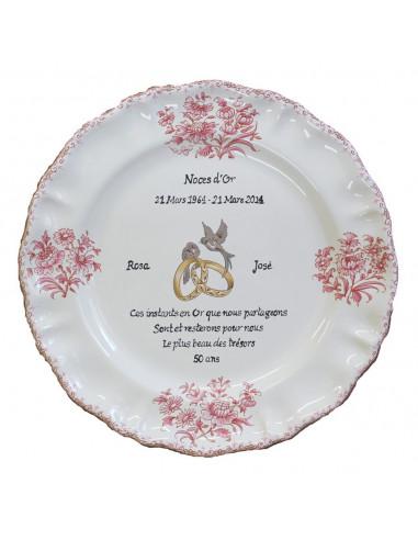 Assiette Souvenir 50 Ans De Mariage Modèle Louis Xv Décor Rose Poème Noces Dor