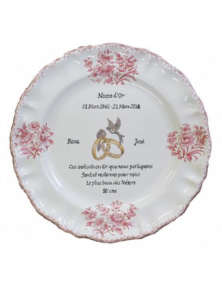Assiette souvenir 50 ans de mariage modèle Louis XV décor rose Poème Noces d'or