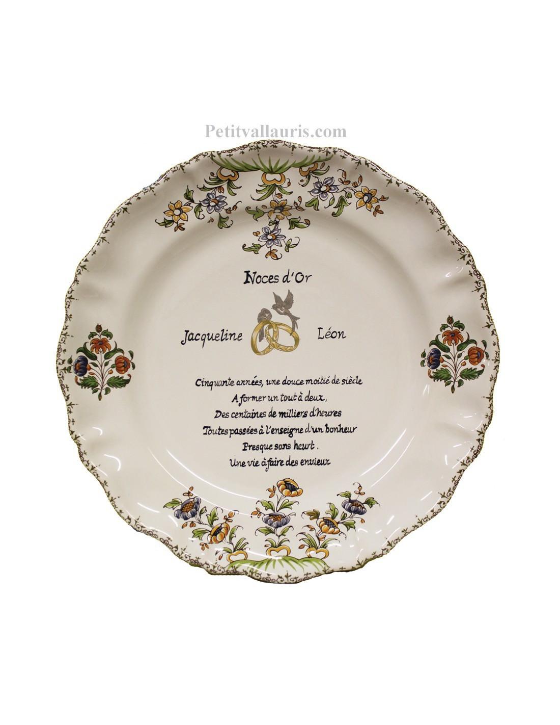 Assiette En Faience Pour Noce Et Anniversaire De Mariage