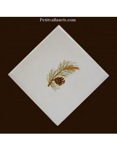 Carreau décor branche de pin diagonale droite 10 x 10 cm