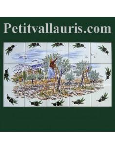 Fresque faïence Provençale décor Récolte des olives semis olives noires