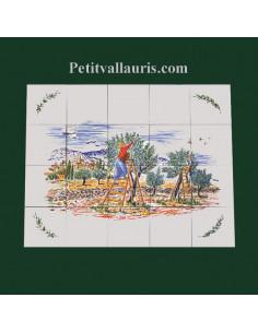 Fresque céramique rectangulaire décor récolte des olives et brin d'olivier