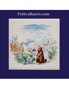 Carreau décor Marmottes et Lac d'hiver 10 x 10 cm