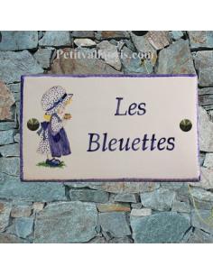 Plaque décorative de maison en céramique décor poupée camaieu de bleu