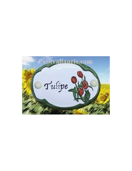 Plaque de porte en faience blanche modèle ovale motif artisanal les Tulipes avec personnalisation