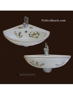 Lave-main d'angle en porcelaine blanche reproduction décor Tradition Vieux Moustiers polychrome