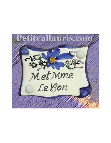 Plaque de porte personnalisée fleurs bleues