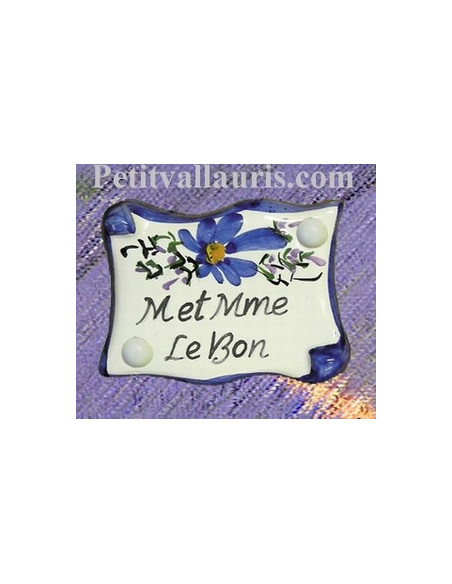 Petite plaque de porte modèle parchemin décor fleurs bleues + gravure personnalisée
