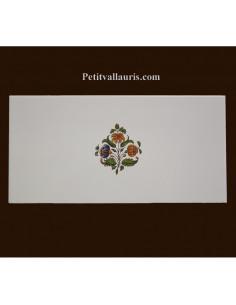 carrelage 10 x 20 en faience décor fleurs medium tradition vieux moustiers polychrome