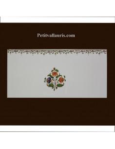 carrelage 10 x 20 en faience décor fleurs medium tradition vieux moustiers polychrome avec frise supérieure