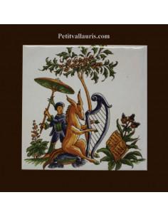 Carreau décor Anne et Lyre polychrome Tradition Vieux Moustiers
