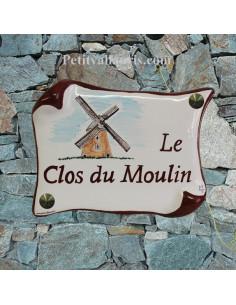Plaque de Maison parchemin décor personnalisé le moulin des flandres