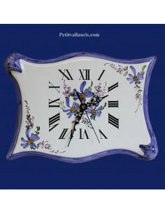 Horloge forme parchemin décor Fleuri bleu