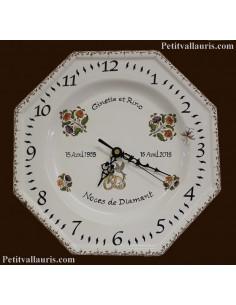 Horloge modèle octogonale souvenir de mariage décor tradition vieux moustiers