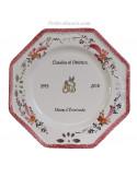 Assiette anniversaire de Mariage octogonale décor fleurs roses