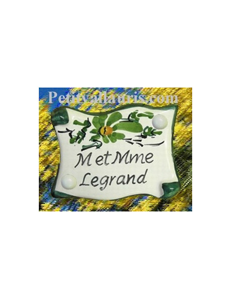 Petite plaque de porte modèle parchemin décor fleurs vertes + gravure personnalisée
