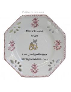 Assiette de Mariage octogonale petit modèle décor tradition vieux moustiers rose