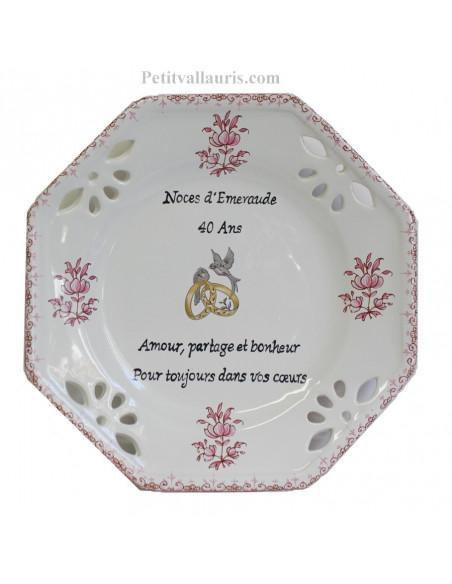 Assiette cadeau de Mariage modèle octogonale personnalisée motif fleurs roses tradition