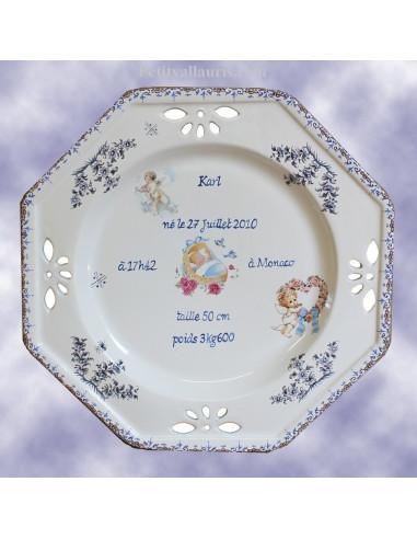 Assiette de naissance octogonale décor ange coloris bleu