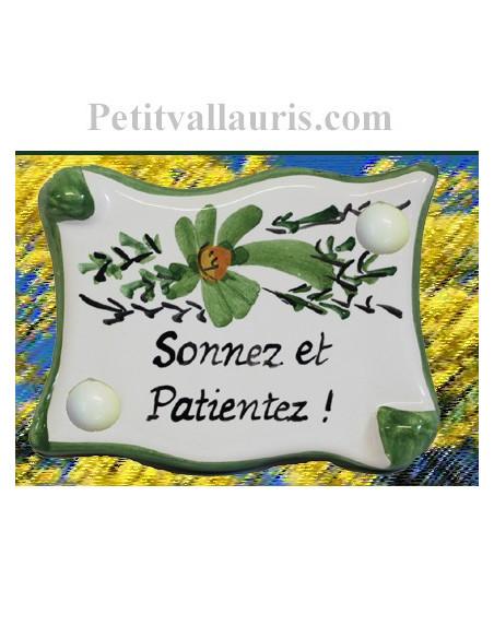 Plaque de porte inscription personnalisée fleur verte