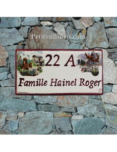 Plaque de maison faience émaillée décor paysage montagne inscription personnalisée prune
