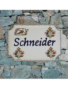 Plaque de Maison rectangle décor tradition vieux moustiers  inscription personnalisée bleue