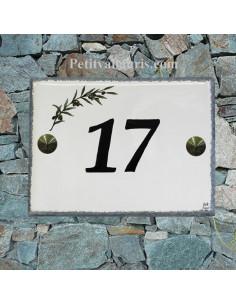 plaque de signalisation céramique bord gris inscription noire